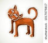 Cute Cartoon Doodle Red Cat...