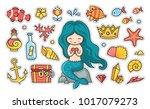 little mermaid with heart... | Shutterstock .eps vector #1017079273