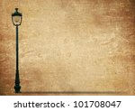 Lamp Street Road Light Pole on old grunge paper - stock photo