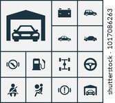 automobile icons set with... | Shutterstock .eps vector #1017086263