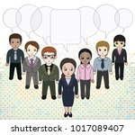 chibi style illustrations of a... | Shutterstock .eps vector #1017089407