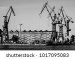 gdansk shipyard  poland. retro... | Shutterstock . vector #1017095083