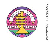colorful linear emblem with... | Shutterstock .eps vector #1017095227