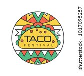 round emblem with mexican... | Shutterstock .eps vector #1017095257