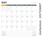 calendar planner for may 2018....   Shutterstock .eps vector #1017106807