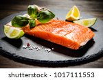fresh raw salmon fish served on ... | Shutterstock . vector #1017111553
