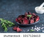 baked beet slices with coarse... | Shutterstock . vector #1017126613