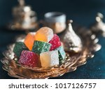 turkish coffee with delight and ... | Shutterstock . vector #1017126757