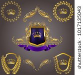 set of golden royal shields... | Shutterstock .eps vector #1017135043