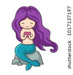 cute little mermaid with purple ... | Shutterstock .eps vector #1017137197