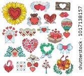 romantic logos   hand drawn... | Shutterstock .eps vector #1017138157
