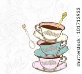 Stock vector tea cup background with spoon vector illustration 101713933