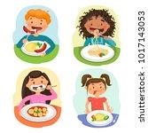 beautiful childrens enjoying... | Shutterstock .eps vector #1017143053