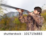 hunter with his rifle | Shutterstock . vector #1017156883