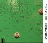 Small photo of detail of an electronic printed circuit board (PCB) useful as a background