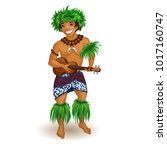 a man in hawaiian clothes with... | Shutterstock .eps vector #1017160747