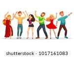 happy people dancing in various ... | Shutterstock .eps vector #1017161083