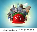 new york collage with the... | Shutterstock . vector #1017169897