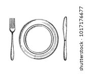 fork knife and a plate of... | Shutterstock .eps vector #1017176677