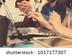 teamwork concept.young creative ... | Shutterstock . vector #1017177307