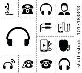 headphone icons. set of 13... | Shutterstock .eps vector #1017183343