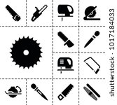 saw icons. set of 13 editable...
