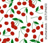 seamless pattern from ripe red... | Shutterstock .eps vector #1017194653