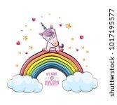 vector funny cartoon cute pink...   Shutterstock .eps vector #1017195577