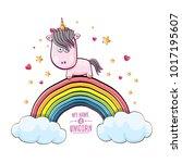 vector funny cartoon cute pink...   Shutterstock .eps vector #1017195607