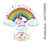 vector funny cartoon cute pink... | Shutterstock .eps vector #1017195943