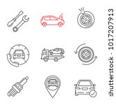 auto workshop linear icons set. ... | Shutterstock .eps vector #1017207913
