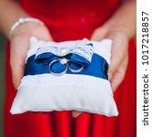 bridesmaid holding wedding... | Shutterstock . vector #1017218857