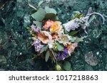 great beautiful wedding bouquet ... | Shutterstock . vector #1017218863