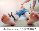 doctor with electrocardiogram...   Shutterstock . vector #1017234877