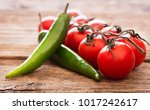 heap of tomatoes with peppers... | Shutterstock . vector #1017242617