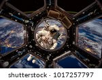 astronaut in outer space... | Shutterstock . vector #1017257797