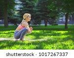 fitness  woman training yoga in ...   Shutterstock . vector #1017267337