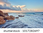 beautiful strong waves in the... | Shutterstock . vector #1017282697
