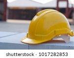 close up yellow safety helmet... | Shutterstock . vector #1017282853