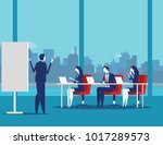 business team meeting working... | Shutterstock .eps vector #1017289573