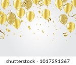 gold balloons  confetti and... | Shutterstock .eps vector #1017291367
