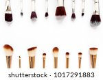 professional makeup brushes ... | Shutterstock . vector #1017291883