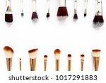 professional makeup brushes ...   Shutterstock . vector #1017291883