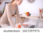 smiling attractive woman having ...   Shutterstock . vector #1017297973