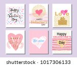 set of beautiful greeting cards ... | Shutterstock .eps vector #1017306133