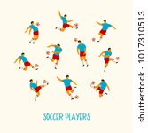 soccer players. flat vector... | Shutterstock .eps vector #1017310513
