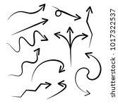 hand drawn arrows vector set on ... | Shutterstock .eps vector #1017322537