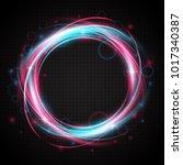 neon rings. glow light swirl... | Shutterstock .eps vector #1017340387