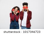 beautiful afro american couple... | Shutterstock . vector #1017346723