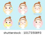 beauty cartoon skin care woman... | Shutterstock .eps vector #1017350893